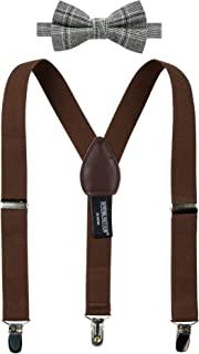 Spring Notion Boys' Suspenders and Plaid Bow Tie Set