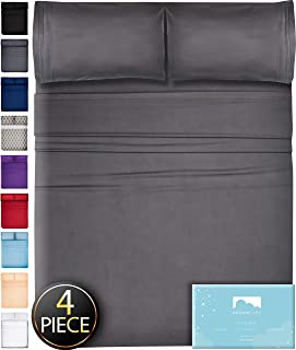 Queen Sheets Bed Sheets Queen Size - 4 Piece Sheets Queen Size Sheets Queen Bed Sheets Queen Sheet Set Queen Size Deep Pocket Queen Sheets Microfiber Sheets Queen Bedding Sets Sheet Gray