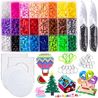 7800 pcs Fuse Beads Kit Perler Beads Kit - 24 Colors 5mm Fuse Beads Craft Set for Kids Including 4 Big Square Clear Pegboa...