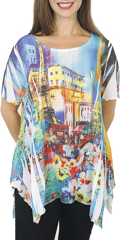 Women's Floral Paris Garden Printed Top 豪華な Swing 爆安プライス Cap Sleeve