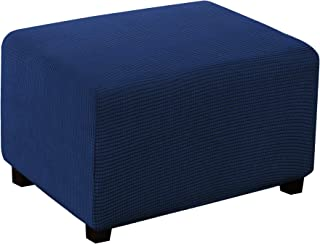 Best Ottoman Slipcover Stretch Fabric Rectangle Folding Storage Stool Ottoman Cover Jacquard Stretch Rectangle Storage Stool Ottoman Cover for Living Room Ottoman Cover (Large, Navy) Review