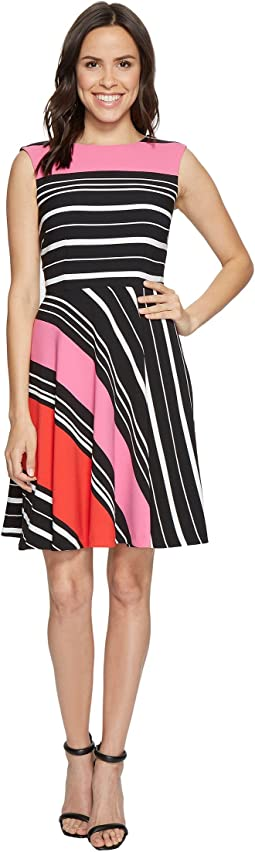 Crepe Multi-Stripe A-Line Dress