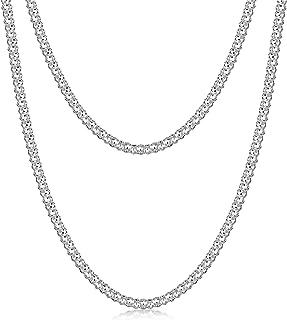 Amberta® Gioielli - Collanina - Catenina Argento Sterling 925 - Modello Pop corn - Larghezza 2.5 mm - Lunghezza: 40 45 50 ...