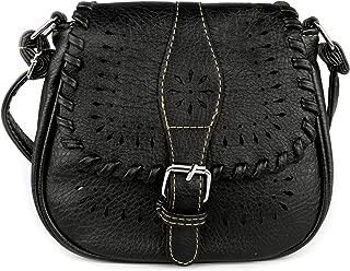 Small Vintage Hollow purse bag Crossbody Bag,PU Leather Shoulder Bag(Black)