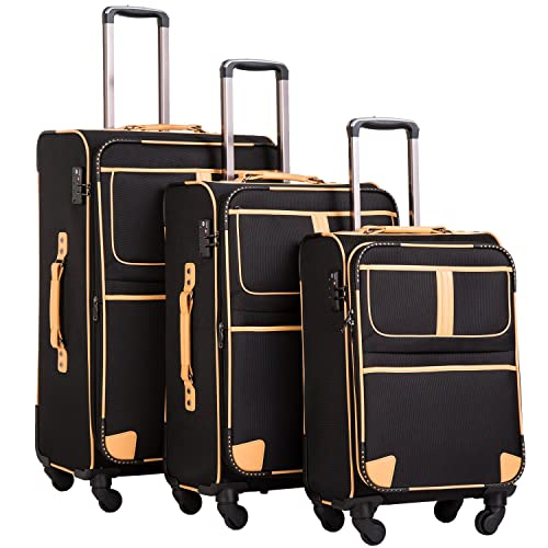 6effb0d622 Coolife Luggage 3 Piece Set Suitcase Expandable TSA lock pinner softshell