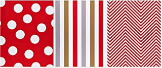 American Greetings Christmas Wrapping Paper Sheets with Gridlines Bundle, Stripes and Polka Dots (12-Sheets, 100 sq. ft.)