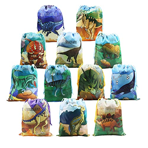 BeeGreen Dinosaur Party Supplies Favors Bags for Kids Boys and Girls  Birthday 12 Pack Dino Drawstring fd726c2e850db