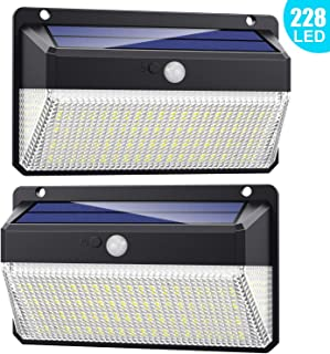 comprar comparacion Luz Solar Exterior 228 LED, Trswyop 2 Unidades-2000 Lumens-2200mah Foco Solar Exterior con Sensor de Movimiento Luces le...