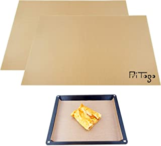 Pritogo [Lot de 2 tapis de cuisson en silicone/fibre de verre 42 x 30 cm sans bisphénol A -40 °C à 240 °C, sans huile & gr...