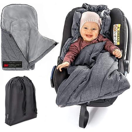Zamboo Fußsack 3m Für Babyschale Baby Winterfußsack Mit Thinsulate Füllung Warme Mumien Kapuze Tasche Grau Basic Baby