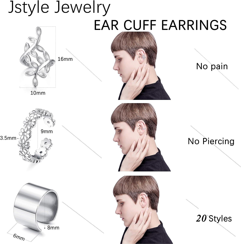 Jstyle 20Pcs Adjustable Ear Cuffs Earrings Set for Women Stainless Steel Non-Piercing Cartilage Clip On Wrap Earring Set