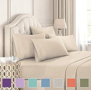 مجموعه ملحفه های اندازه ملکه - مجموعه 6 تکه - ورق تختخواب لوکس هتل - نرم نرم - جیب های عمیق - مناسب آسان - ورق های قابل تنفس و خنک کننده - بدون چین و چروک - راحت - تان - صفحه تخت خواب بژ - ورق های کوئینز - 6 کامپیوتر