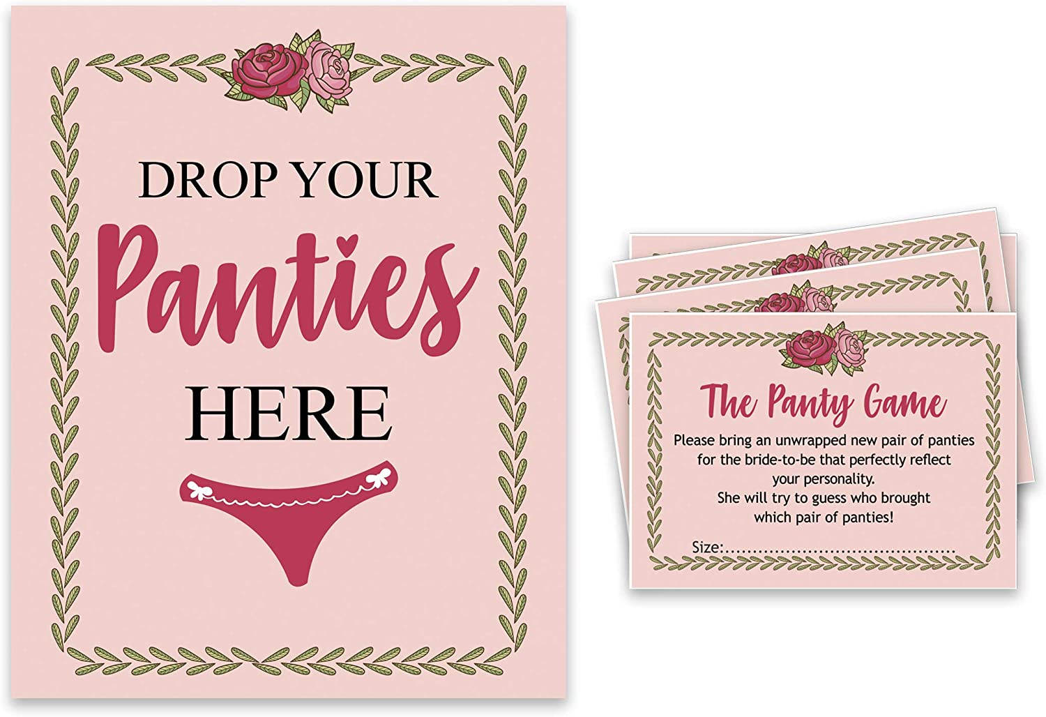 Amazon Com Inkdotpot Girls Night Out Bachelorette Party Drop Your Panties Game Floral Bridal Shower Game 1 Sign 30 Size Cards Light Peach Home Kitchen