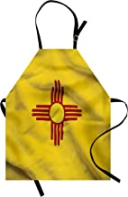 Lunarable American Apron, New Mexico of United States Flag with Sun of The Zia on a Field Waving, Unisex Kitchen Bib with Adjustable Neck for Cooking Gardening, Adult Size, Yellow Red