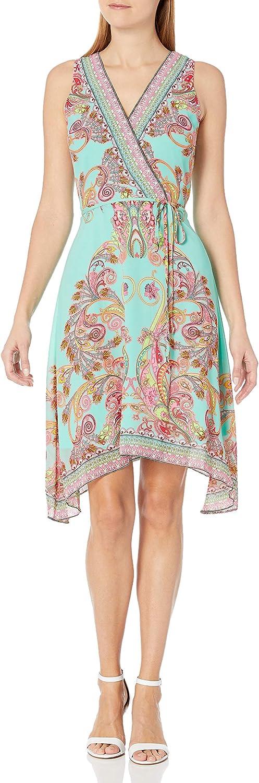 Sandra Darren Women's 1 Pc Sleeveless V-Neck Faux Wrap Chiffon Dress