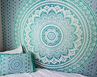 RSG Venture Turquoise Green Ombre Tapestry Teal Aqua Hippie Wall Tapestries teal mint Tapestry Wall Hanging Hippie Mandala Tapestry Bohemian Bedspread Ethnic Dorm Decor Mandala hippie tapestries by