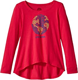 World Peace Long Sleeve Scoop Neck Swing Tee (Little Kids/Big Kids)