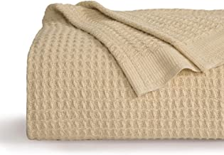 Bedsure 100% Cotton Thermal Blanket - 405GSM Soft Blanket in Waffle Weave for Home Decoration - Perfect for Layering Any Bed for All-Season - King Size (104 x 90 inches), Beige