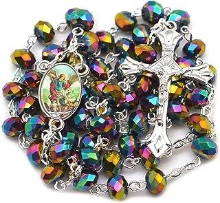 Rosario de Cristal facetado con arcángel Brillante de San Miguel