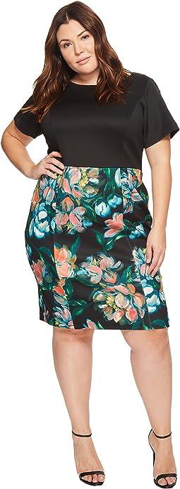 Adrianna Papell - Plus Size Printed Bateau Neckline Sheath Dress
