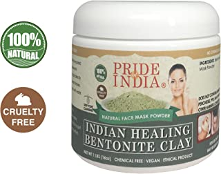 Pride Of India - Indian Healing Bentonite Clay Natural Acne Face Mask Powder, 1 Pound (454gm) Jar - for Deep Pore Cleansing, Healing Body & Skin Detoxification - Buy ONE GET 50% Off 2ND Unit