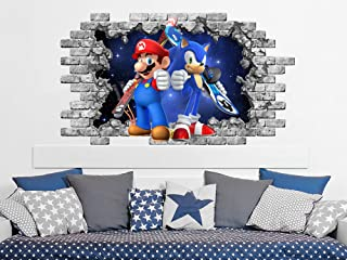 Super Mario and Sonic Hole in the Decal, Video Game Wall Murals, Space Wall Sticker, Peel and Stick, Nursery Game Room Decor ND141
