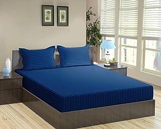 "Trance Home Linen Cotton 200TC Fitted Bedsheet (Queen 78"" x 60""_Dark Blue)"