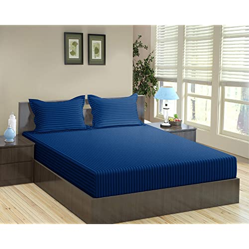 "Trance Home Linen Cotton 200 Tc King Fitted Bedsheet with 2 Pillow Covers (78"" x 72"") - Dark Blue"