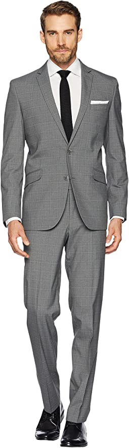"Stretch Slim Fit Windowpane 32"" Finished Bottom Suit"