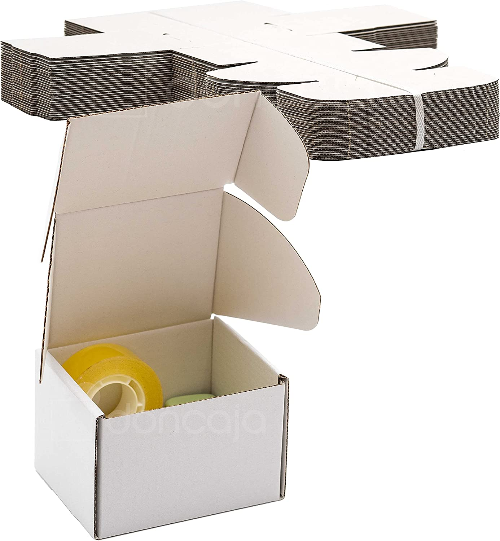Pack cajas 10.5 x 8 x 7 cm | cartón pequeñas, para envíos ecommerce automontables kraft, paqueteria, almacenaje , packaging, regalos, envio postal, Ideal ecomerce (Pack 25, Blanco)