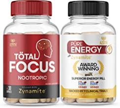 AZOTH Total Focus Supplement - Bundled with AZOTH Pure Energy Supplement with 100% Zynamite, for Instant Focus, Energy, At...