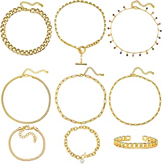 17 MILE Gold Chain Necklace and Bracelet Sets for Women Girls Dainty Link Paperc