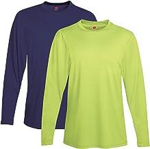 Hanes Men's 2 Pack Long Sleeve Cool Dri T-Shirt UPF 50+ 1 Navy/1 Safety Green