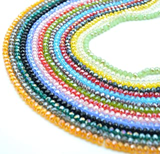 Catotrem Faceted Glass Crystal Beads Strands Briolette Rondelle Crystal Beads Spacer for Jewelry Making 15 Colors 1425pcs 6MM