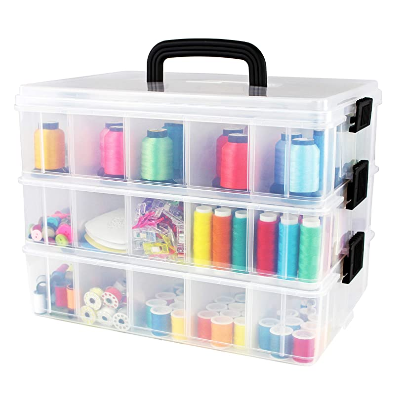 Bins & Things Stackable Storage Containers with 30 Adjustable Compartments (13W x 9D 9.5H Inch) | 3-Tier Stackable Storage Bins for Arts and Crafts, Jewelry Making, Beads Organizer, Sewing Accessories