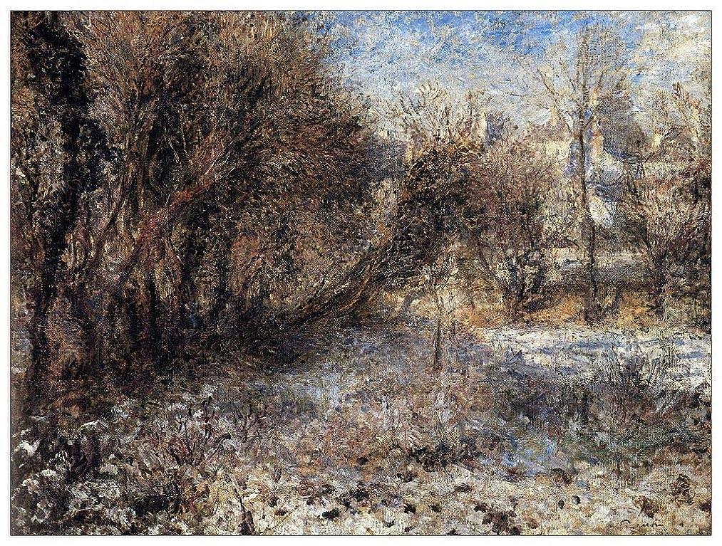 ArtPlaza TW92800 Renoir Pierre-Auguste - Snowy Landscape Decorative Panel 35.5x27.5 Inch Multicolored