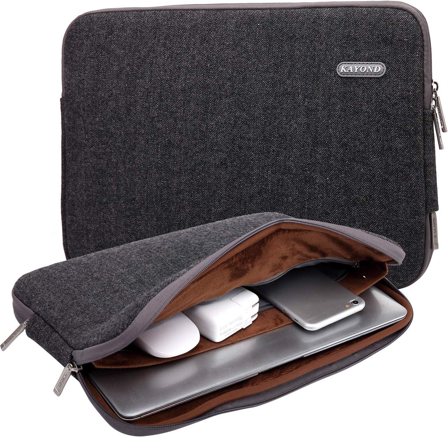 KAYOND Herringbone Woollen Water Repellent for 11-11.6 Inch Laptop Sleeve Case Bag (11-11.6 Inches, Black)
