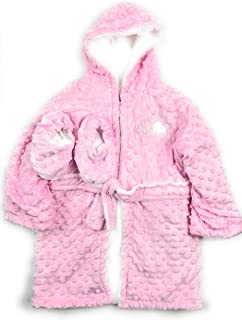 Bathrobe and Slippers Pink,2T/3T