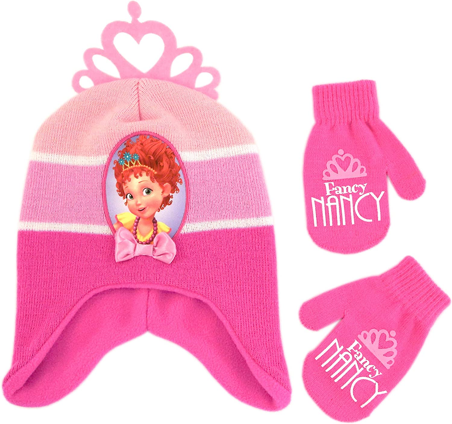 Disney Girls' Toddler Fancy Nancy Hat and Mittens Cold Weather Set, Pink, Age 2-4