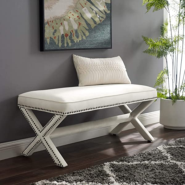 Modway Rivet Contemporary Modern Upholstered Velvet X Base Accent Bench With Nailhead Trim In Ivory
