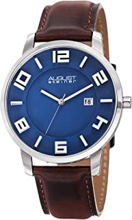 August Steiner Men's Slim Watch - Swiss Quartz with Date Window On a Genuine Leather Strap Watch - AS8108