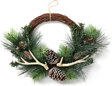"""LOHASBEE Artificial Christmas Wreath, 22""""-24"""" Pine Cone Grapevine Frosted Wreath with Deer Antlers for Christmas Home Front D"""