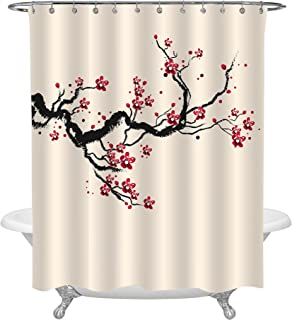 MitoVilla Japanese Cherry Blossom Bathroom Accessories for Home Decor, Classic Asian Watercolor Shower Curtain with Spring Cherry Tree Branches and Blooming Sakura Flowers, Red Black Beige, 72 x 78