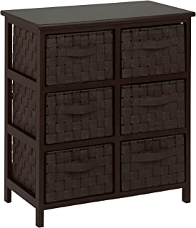 Honey-Can-Do 6-Drawer Storage Chest with Woven-Strap Fabric, Espresso, 24-Inch