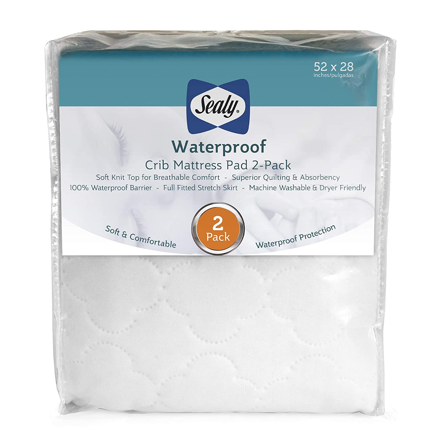 half 2 PACK Sealy New Shipping Free Shipping Waterproof Fitted Toddler Pa and Crib Baby Mattress