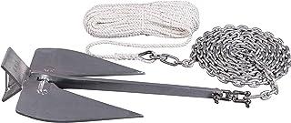AWN Plattenanker Set Britany Anker Stahl Feuerverzinkt | Anker Boot Set mit Plattenanker, Wirbelschäkel, Kettenvorlauf und Ankerleine | Platzsparend verstaubar | Ankergewicht von 6 – 12 kg