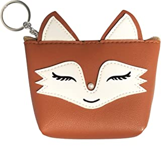 Fox Design Zipper Coin Purse Wallet Keychain Key Fob/Ring/Holder Faux Leather