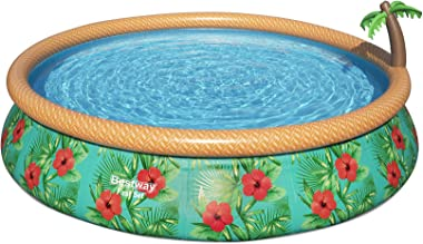 Bestway 57415E 15 Foot x 33 Inch Fast Set Paradise Palms Inflatable Above Ground Backyard Swimming Pool Set with Filter Pump