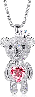 Teddy Bear Necklace with Swarovski Crystals for Girls Pink Love Heart Bear Pendant Necklace Cute Birthday Graduation Gifts