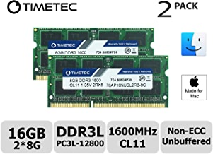 Timetec Hynix IC Apple Compatible 16GB Kit (2x8GB) DDR3L 1600MHz PC3L-12800 SODIMM Memory Upgrade For MacBook Pro13-inch/15-inch Mid 2012, iMac 21.5-inch Late 2012/ Early/Late 2013, 27-inch Late 2012/2013, Retina 5K Display Late 2014/ Mid 2015, Mac Mini Late 2012/Server (16GB Kit (2x8GB))